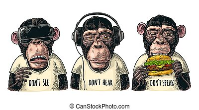 3, ない, speak., 聞きなさい, 型, 賢い, 彫版, monkeys., 見なさい、