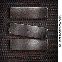 3, グランジ, 錆ついた 金属, プレート, 上に, 格子バックグラウンド