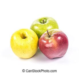3, グループ, 隔離された, りんご