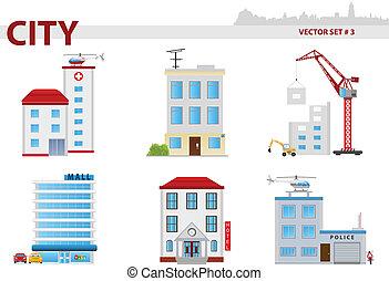 3, セット, 公衆, 建物。