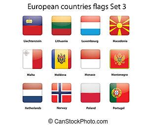3, セット, 旗, ヨーロッパ, 国