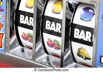 3, バー, jackpot, 上に, スロットマシン
