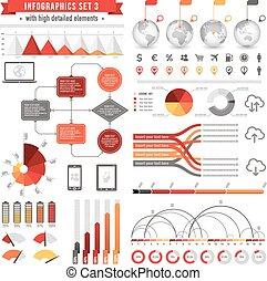 3, ベクトル, セット, infographics