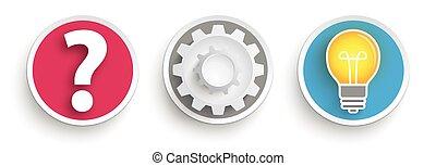 3, ボタン, 質問, ギヤ 車輪, 考え, 電球