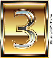 3, 字体, 锭, 数字, 描述