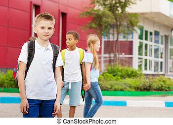 3, 学校, ファサド, リュックサック, 子供