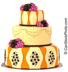 3, 層, ケーキ, ∥で∥, 3, 層, 飾られる, チョコレート, バラ, .