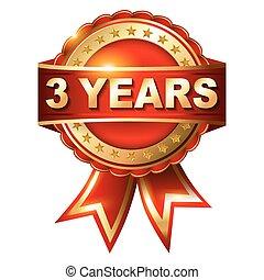 3, 年, 保証, 黃金, 標簽, 由于, ribbon.