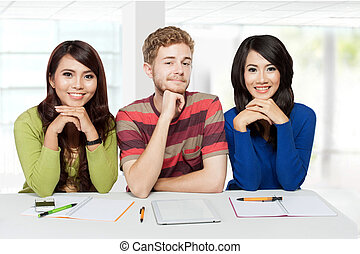 3, 微笑, 生徒, 勉強, 一緒に