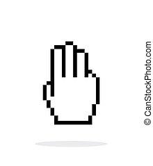 3, 手, カーソル, バックグラウンド。, fingers., 白, ピクセル, アイコン