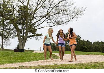 3, 楽しむ, 公園, 女の子