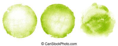 3, 水彩画, 背景, 円, 白