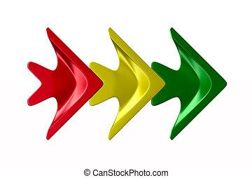 3, 白, 隔離された, 矢, バックグラウンド。, 色, 3d, イラスト