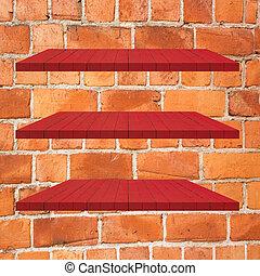 3, 紅的樹木, 架子, 桌子, 上, 磚牆, 背景