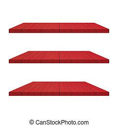 3, 紅的樹木, 架子, 桌子, 被隔离, 在懷特上, 背景