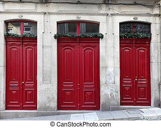 3, 紅色, 入口, 門