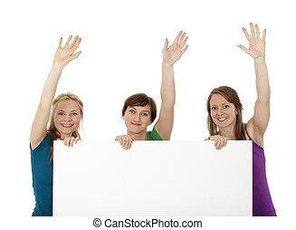 3, 若い女性たち, 保有物, a, 旗, そして, 挨拶