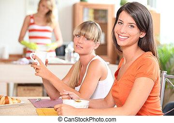 3, 若い, 家, 朝食, 持つこと, 女性