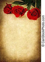 3, 赤いバラ, 上に, グランジ, 背景