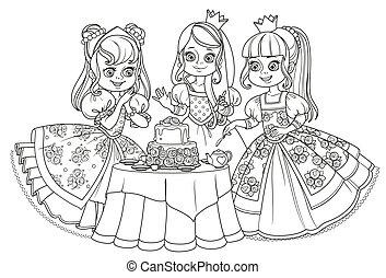 3, 隔離された, ケーキ, パーティー, 白, 持つこと, 背景, プリンセス, お茶, 着色, 概説された, 美しい, 本