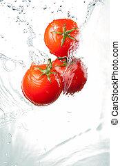 3, 隔離された, 水, はね返し, 赤い背景, 新たに, 白, トマト