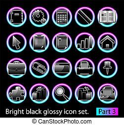 3, 集合, 黑色, 有光澤, 圖象