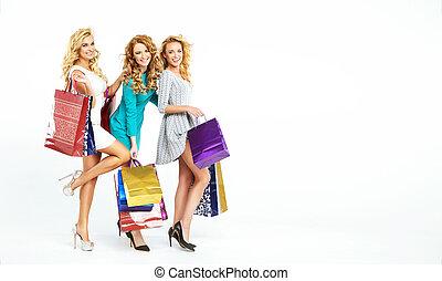 3, 굉장한, 여자, 즐기, 판매