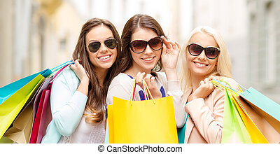 3, 미소, 소녀, 와, 쇼핑 백, 에서, ctiy