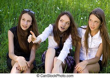 3, 아름다운, 학생, 소녀, 공원안에