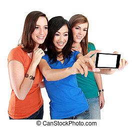 3, 행복하다, 소녀, selfie, 와, a, handphone