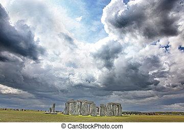 3,  000bc,  Stonehenge, erba, Inghilterra, origini, cielo, sotto, luogo,  Unesco, storico, drammatico, verde, eredità, mondo, valutato