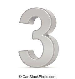 3, 3d, nombre, argent