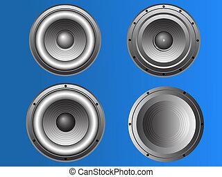 3, 4, loudspeakers