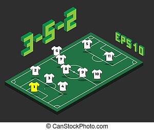 3-5-2, isométrique, formation, football, field.
