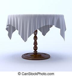3, abrosz, képben látható, kerek, étkező, asztal.