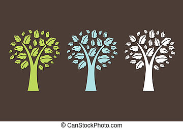 3 Abstract Trees, Isolated On Brown Background, Vector Illustration