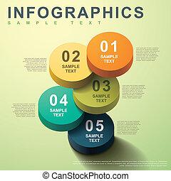 3, abstrakt, cylinder, infographics