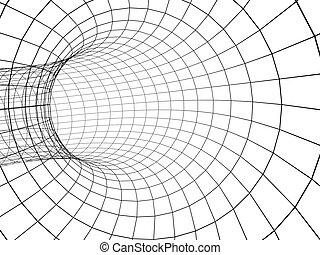 3, abstrakt, tunnel, från, a, galler