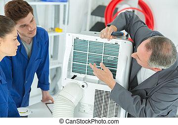 3, ac, técnicos, reparar, um, industrial, ar condicionado, compressor