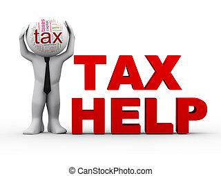 3, adót kiszab, segítség, ember