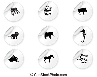 3, adesivos, ícones animais