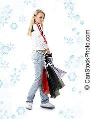 #3, adolescent, achats, flocons neige, girl