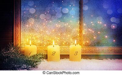 3., advent, fenster, dekorationen