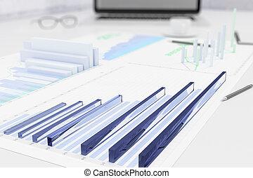 3, affär, grafer, på bordet, med, papper