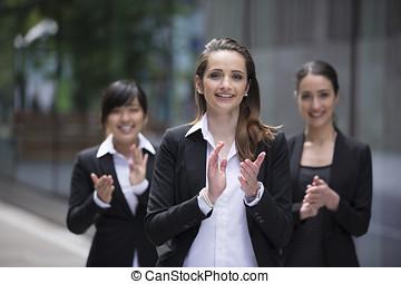 3, affärsverksamhet kvinnor, applåder