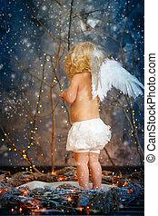 3, ailes, ange, enfant
