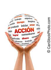 3, akció, szó, gömb, (in, spanish)