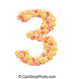 3, alfabeto, branca, isolado