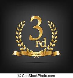 3 anniversary golden symbol. Golden laurel wreaths with ribbons and third anniversary year symbol on dark background. Vector anniversary design element.