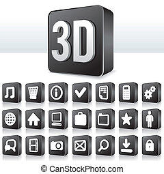 3, apps, ikona, technika, piktogram, dále, čtverec, knoflík